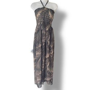 Halter gray maxi dress